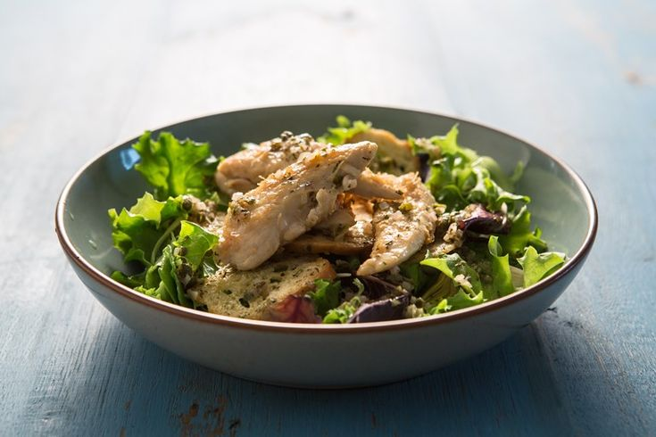 William Drabble's warm chicken salad is packed with flavours and textures, with French beans, artichoke hearts and crunchy, golden croutons.