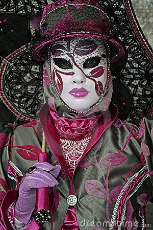 Pink, Mauve, black Masquerade - Venice Carnival