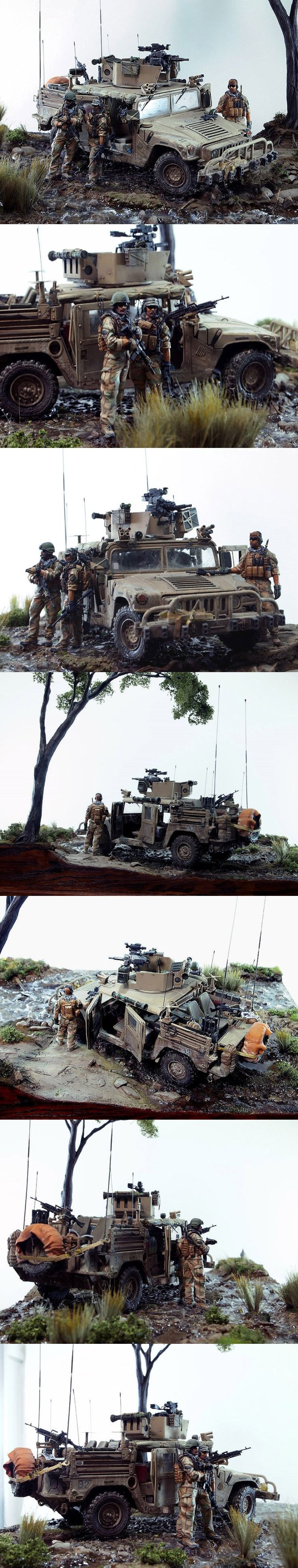 """DUMVEE 1/35 Scale Model Diorama. """"I am torn whether to place this in Miniature Terrain or Miniatures. I don't really want to make a Diorama board. This Diorama feels weighted towards miniature terrain...so there you go."""" John Schmidt"""