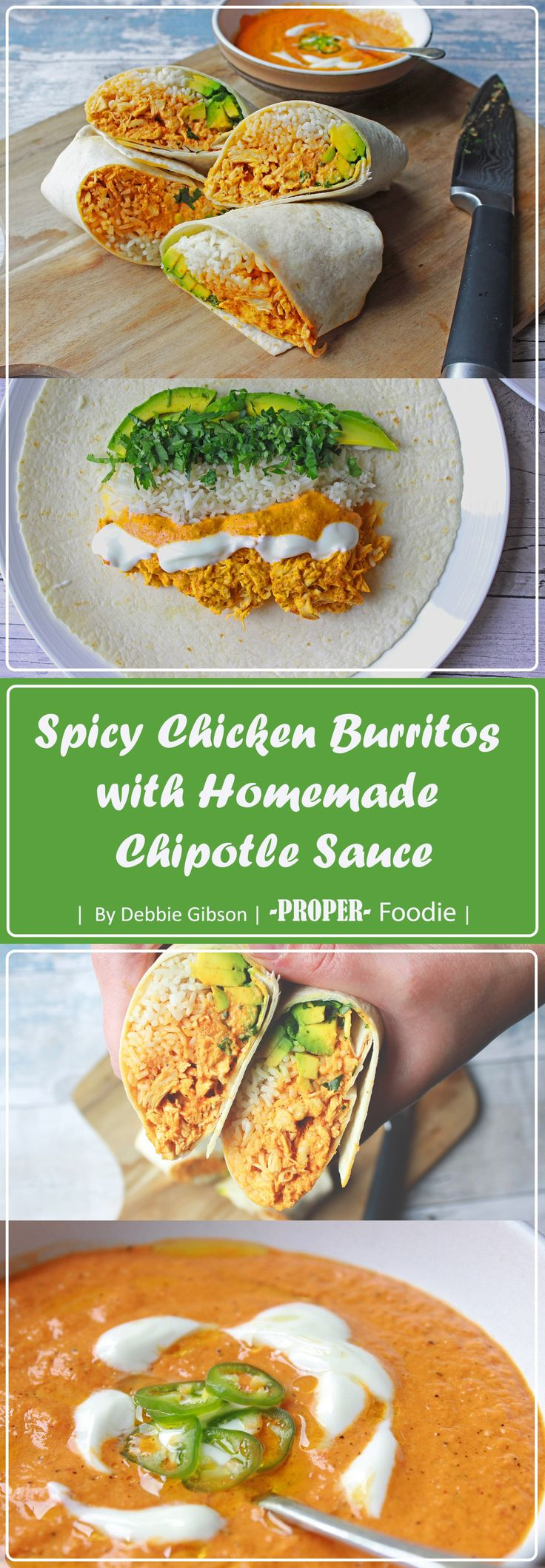 Dive into these spicy chicken burritos with fiery homemade chipotle sauce