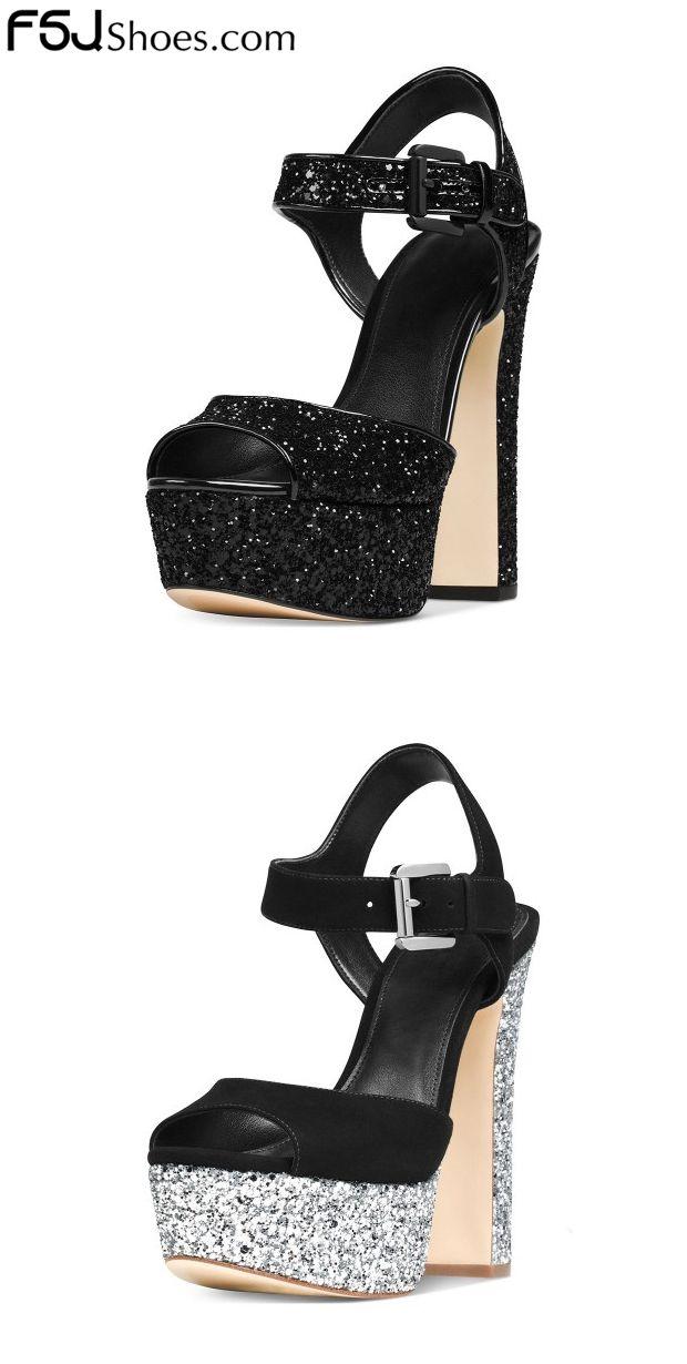 6b88e66e284 Black Glitter Shoes Peep Toe Block Heel Sandals with Platform