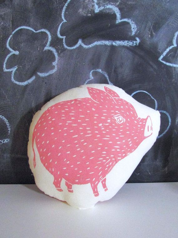 Plush Pig Pillow. Woodblock Printed. Choose ANY by LauraFrisk, $18.00