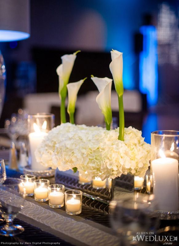 Short white calla lilies Wedding reception Centerpiece