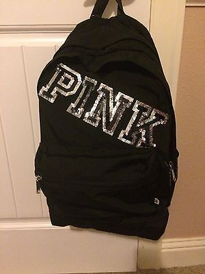 Victorias Secret Pink RARE Black Bling Logo Sequins Campus Backpack Bag Gift