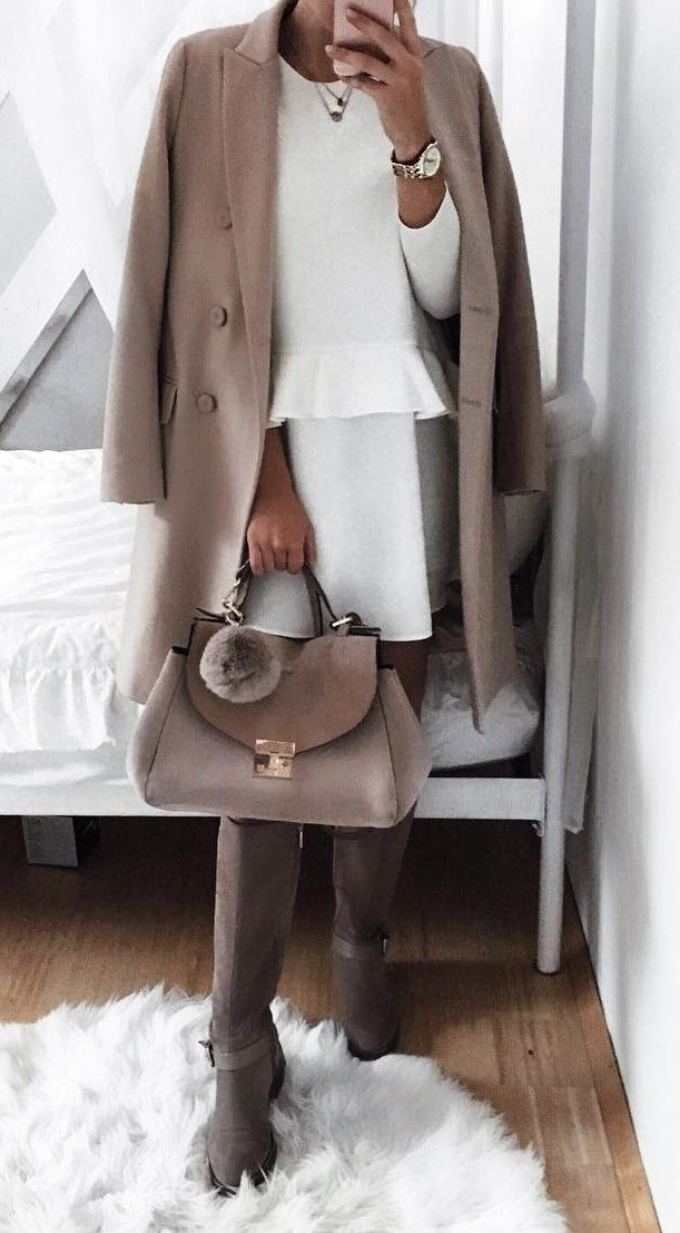 Camel Coat // White Dress // Tote // Knee Length Boots