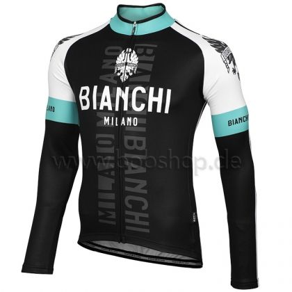 Maillot manches longues BIANCHI MILANO Rienza noir-blanc-celeste |  Maillots manches longues | Bob Shop Boutique Vélo