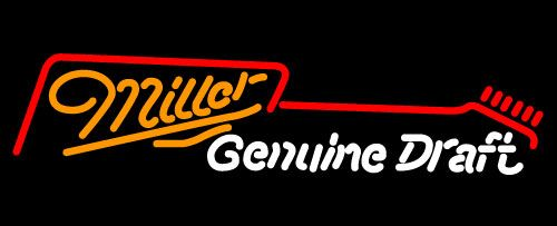 Miller Guitar Neon Beer Sign, Miller MGD Neon Beer Signs & Lights   Neon Beer Signs & Lights. Makes a great gift. High impact, eye catching, real glass tube neon sign. In stock. Ships in 5 days or less. Brand New Indoor Neon Sign. Neon Tube thickness is 9MM. All Neon Signs have 1 year warranty and 0% breakage guarantee.