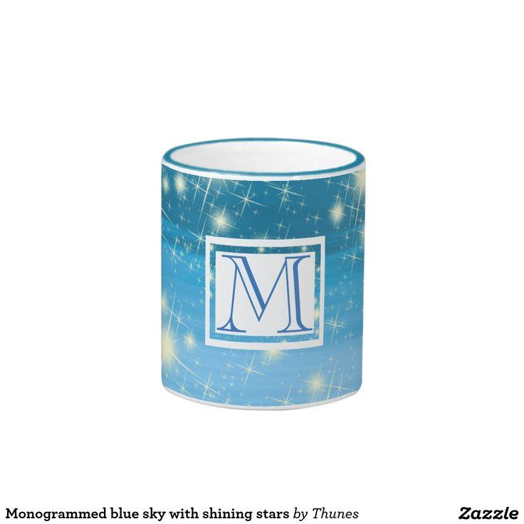 Monogrammed blue sky with shining stars ringer coffee mug