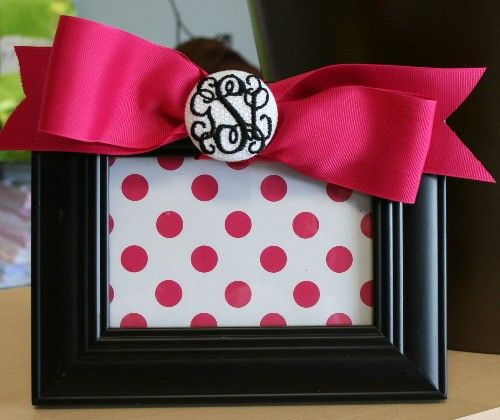 Monogrammed Picture Frame with  Bow by monogrammarketplace on Etsy, $32.00
