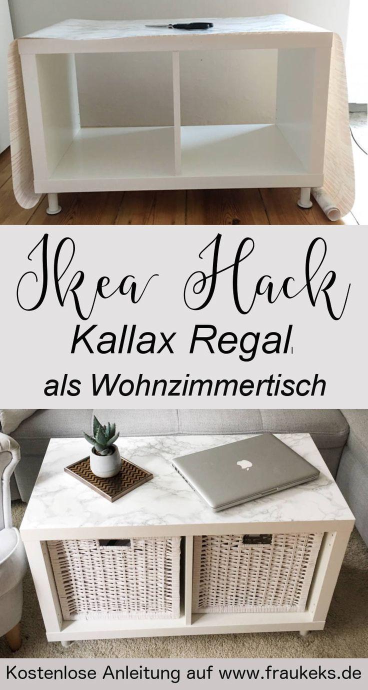 Du brauchst einen kleinen Wohnzimmertisch mit Stauraum? Das Kallax-Regal eignet sich perfekt dafür! Die Anleitung inklusive coolem Marmoreffekt findest du auf www.fraukeks.de