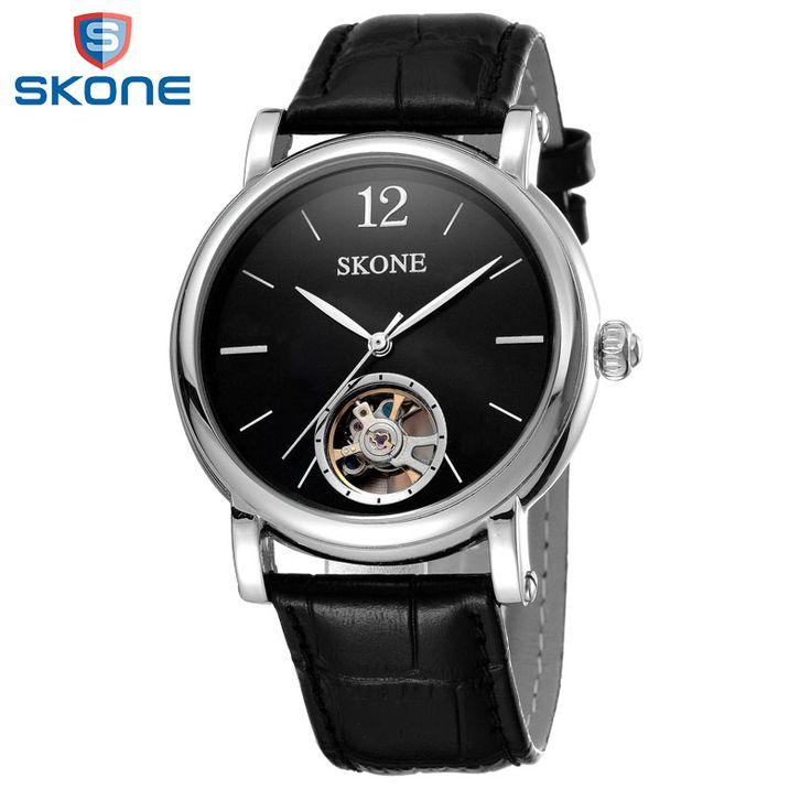 US $55.99 - SKONE Automatic Watch Men Genuine Leather Strap Reloj Automatico Black Montre Automatique Homme Otomatik Erkek Kol Saati