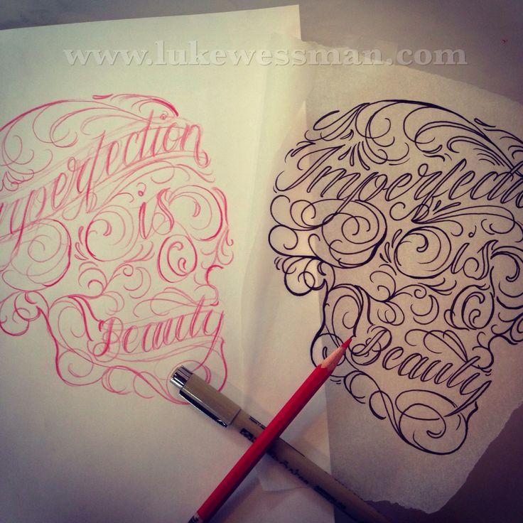 Tattoo ideas, skull tattoo, lettering tattoo, lukewessman