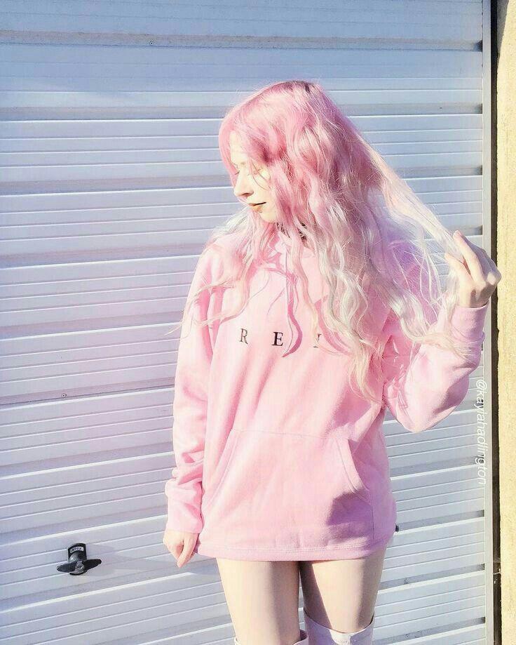 Nice Girl Pink Hair Kawaii Clothes Pastel Hair