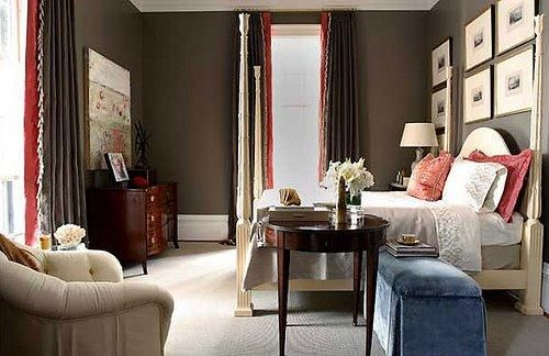 Chic brown red bedroom design brown paint wall color for Brown and cream bedroom ideas