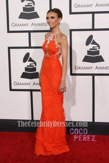 Giuliana Rancic Orange Lace Formal Dress 2014 Grammy Red Carpet - TheCelebrityDresses