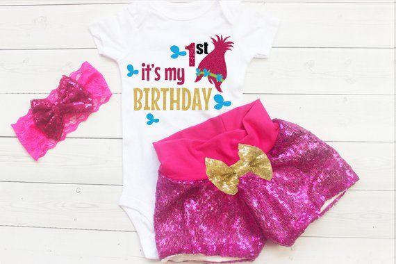 c503253bad3 Troll First Birthday Outfit, Girls Poppy Birthday Outfit, Troll 1st Birthday  Shirt, Trolls Birthday Outfit, Poppy Troll Bodysuit,