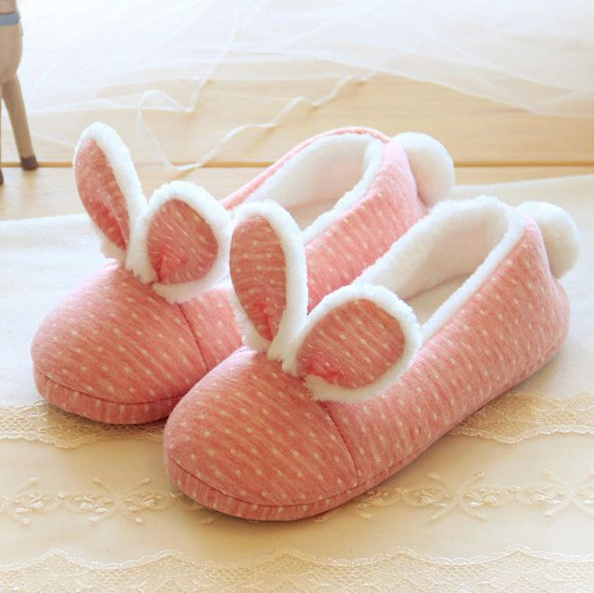 Cute pink rabbit home warm slippers