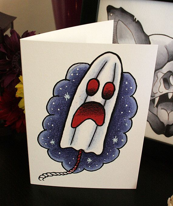 Phantom Tampon A6 Blank Greeting Card Tattoo By Kastanada
