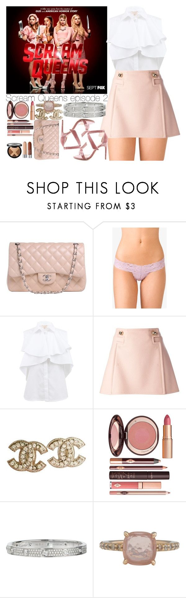 """Scream Queens episode 2"" by outfitsbynina9 ❤ liked on Polyvore featuring Chanel, Forever 21, Giambattista Valli, Frankie Morello, Charlotte Tilbury, Cartier and Pomellato"