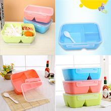 1x Convenient Lunch Box 3 Compartments With Spoon Bento Box Food Container Student New Tableware Dinnerware(China (Mainland))