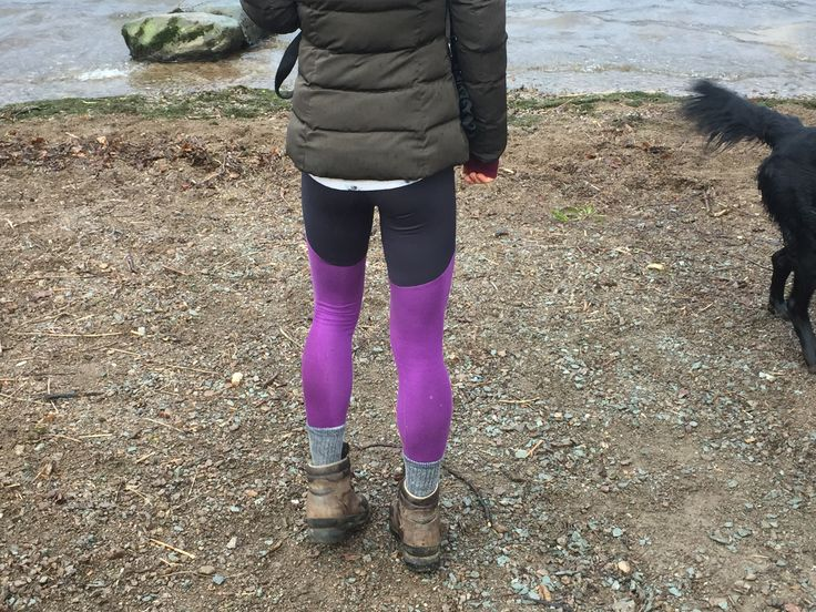 2 tone purple yoga leggings - hiking