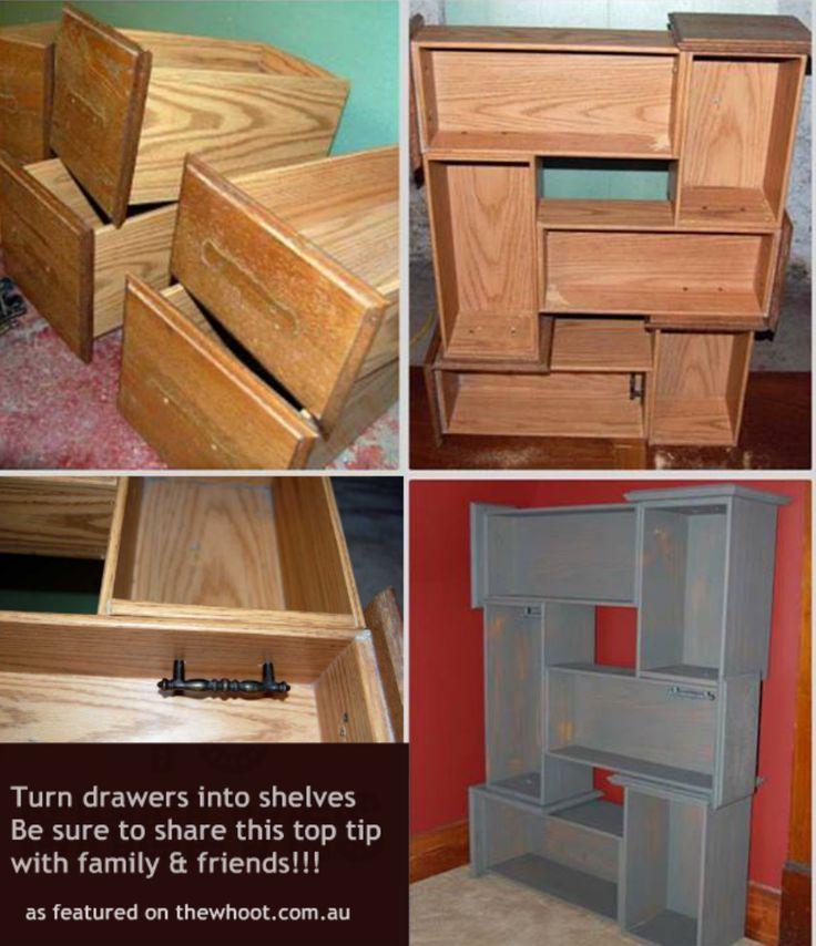 Turn draws into shelves. Brilliant!