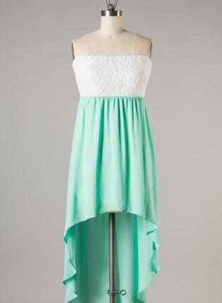 White and mint high low dress with lace? Adorable! My winter ball dress! :D