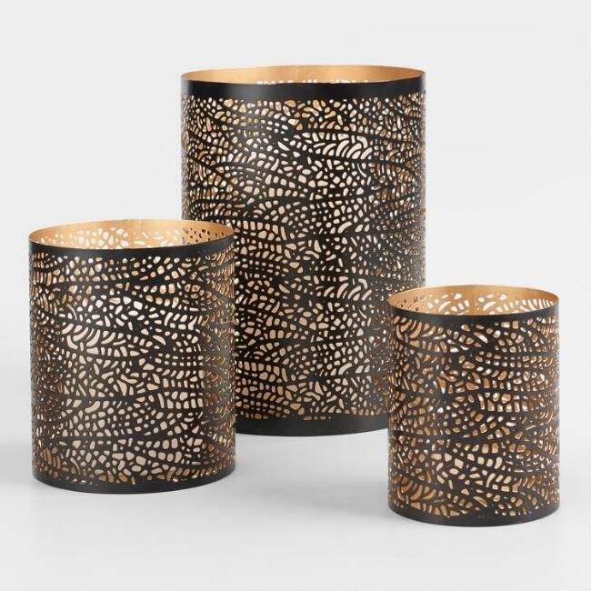 Love these Black & Gold Leaf Candleholders. Kinda rustic but modern and industrial. perfect for farmhouse. #afflink