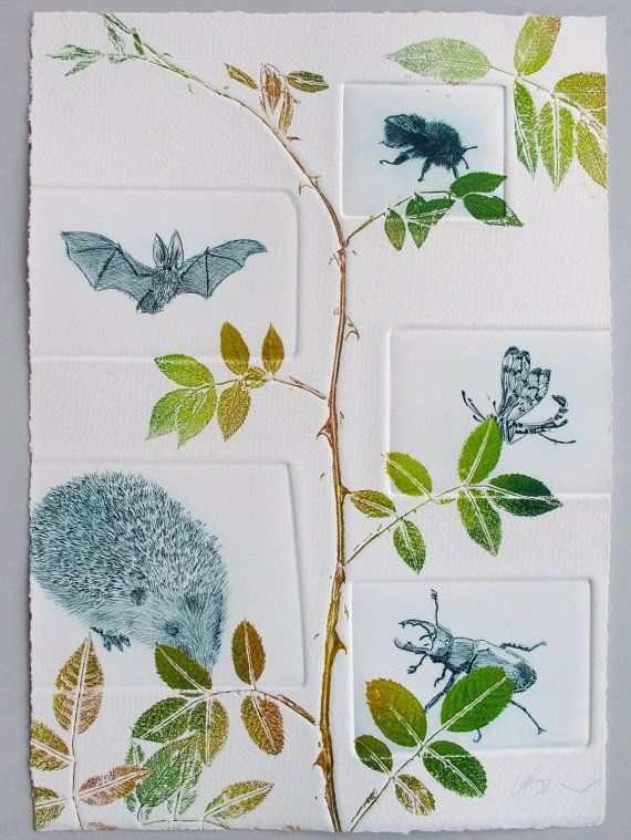 Hedgerow animals, print fine art. Drypoint and mono print.by Lynn Bailey