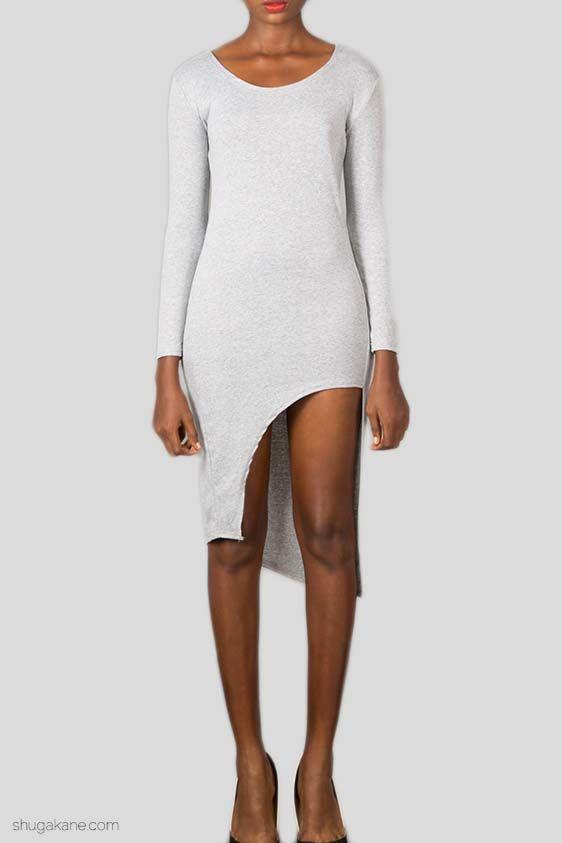 Corner Slit Bodycon Dress Grey