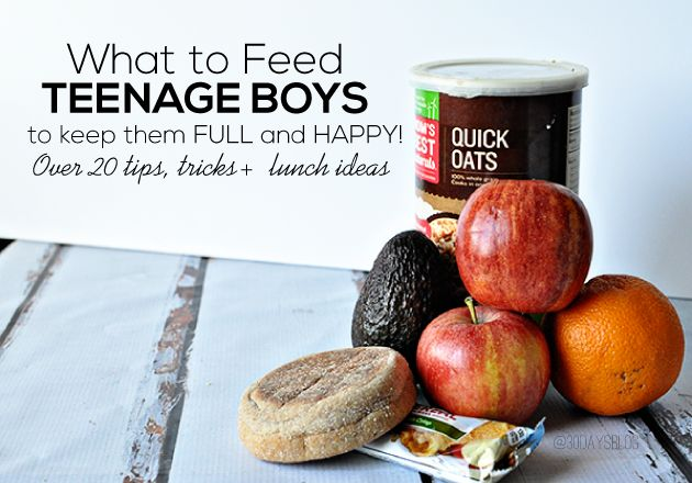What to Feed Teenage Boys to Keep Them Full and Happy - 20+ tips, tricks and lunch ideas www.thirtyhandmadedays.com: Happy, Food, Teenage Lunch Ideas, Teen Boy, Lunchideas Healthy, Feed Teenage, Kids, Tricks Lunchideas, Teenage Boys