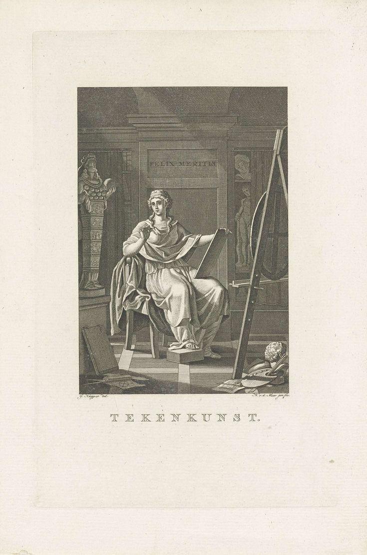 Noach van der Meer (II) | Tekenkunst, Noach van der Meer (II), 1777 - 1800 | De personificatie van de Tekenkunst, gezeten op een stoel, met een pen in de ene hand en een tablet in de andere. Om haar heen liggen tekenattributen, links het standbeeld van de vruchtbaarheidsgodin Diana van Efeze. In de kast achter een gordijn standbeelden. Allegorie op de afdeling tekenkunst van de Maatschappij Felix Meritis.