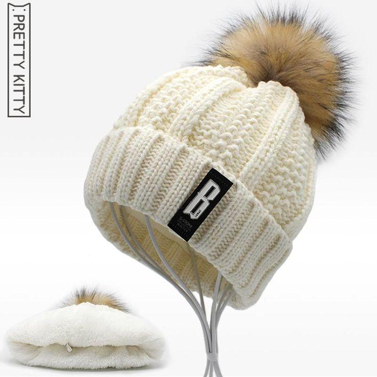2017 NEW Beanies Women girl 's Winter Hats Crochet Cap Fur knitted Pompons Ball Warm Gorros Thick Female Cap