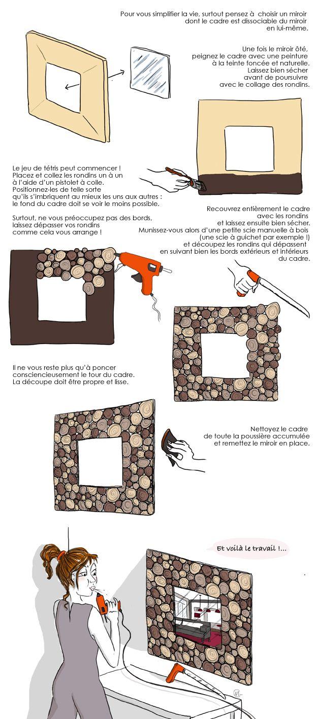 Comment créer un miroir avec des rondins ? http://www.deco.fr/loisirs-creatifs/actualite-603902-creer-miroir-rondins-deco-nature.html #DIY