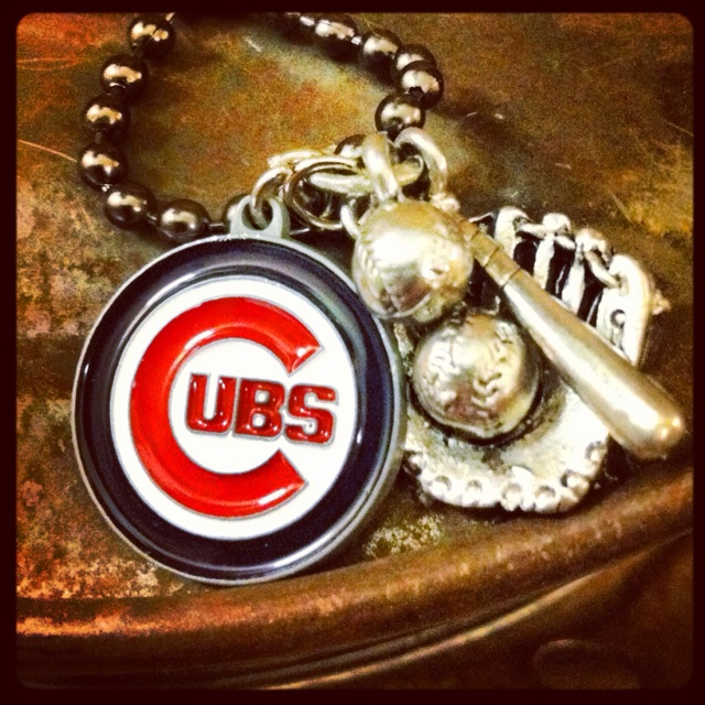 """go cubs"" baseball necklace"