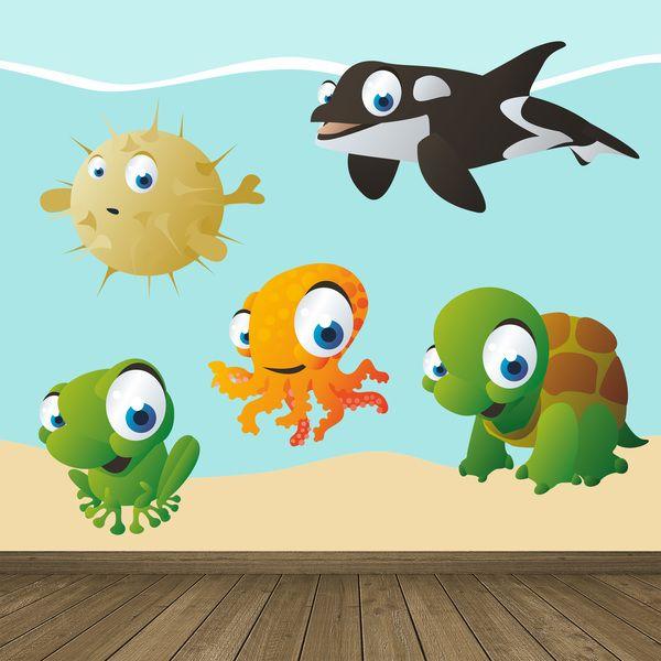 Acquario - Adesivi per bambini. Adesivi murali bambini a kit. pesce, orca, rana, tartaruga, polpo. #adesivimurali #decorazione #modelli #mosaico #mare #StickersMurali