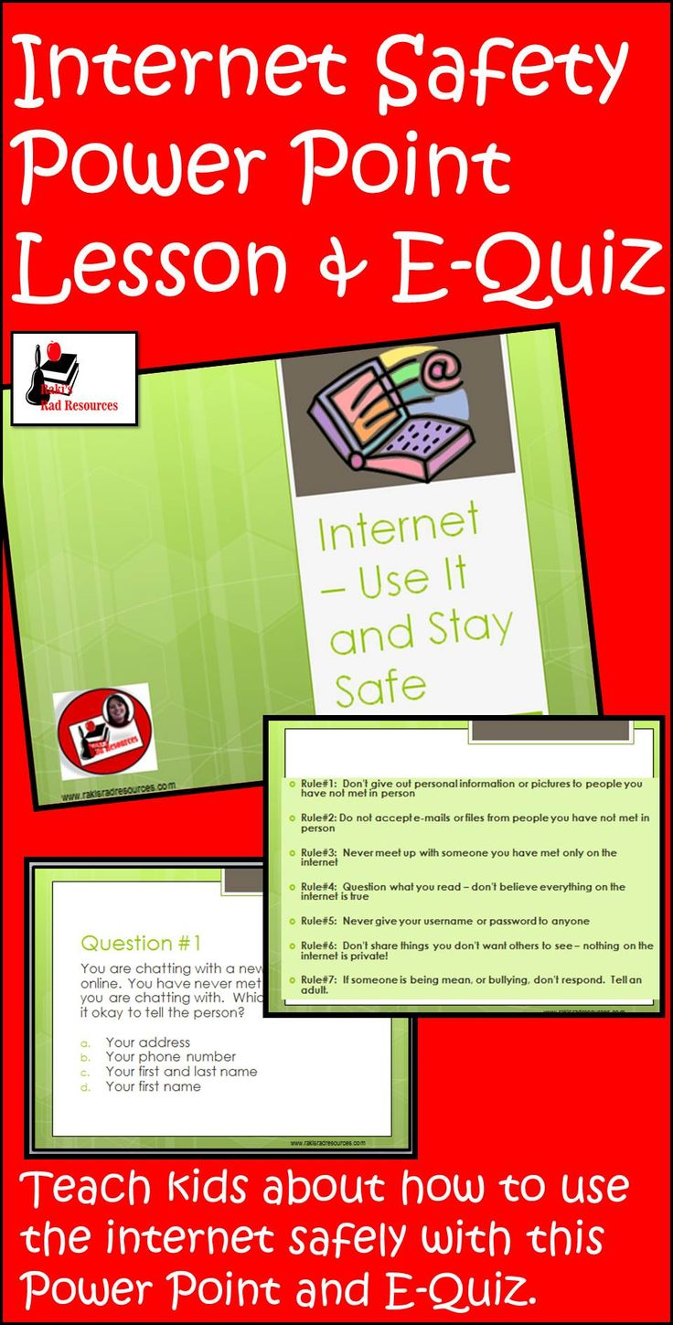 Learning how to navigate the web safely is important for students of all ages. This PowerPoint presentation includes links to web lessons on appropriate for grades kindergarten through fifth grade. Also included in the presentation is a list of seven Internet safety rules that will work at any grade level, and e-quiz, or the intermediate grades that can easily be integrated into any student response system.   Just $3.00.