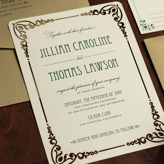 Laser Cut Invitation Art Nouveau Wedding by JenSimpsonDesign #lasercutinvitation