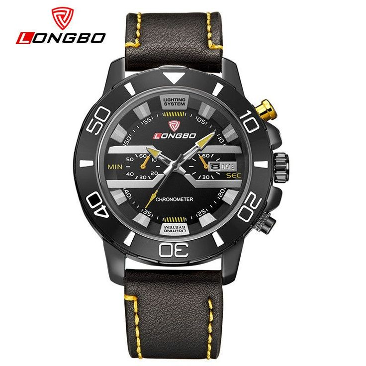 LONGBO Brand New Luxury Men Military Watch Men's Leather Quartz Sports Hours Date Clock Relogio Masculino Relojes Hombre