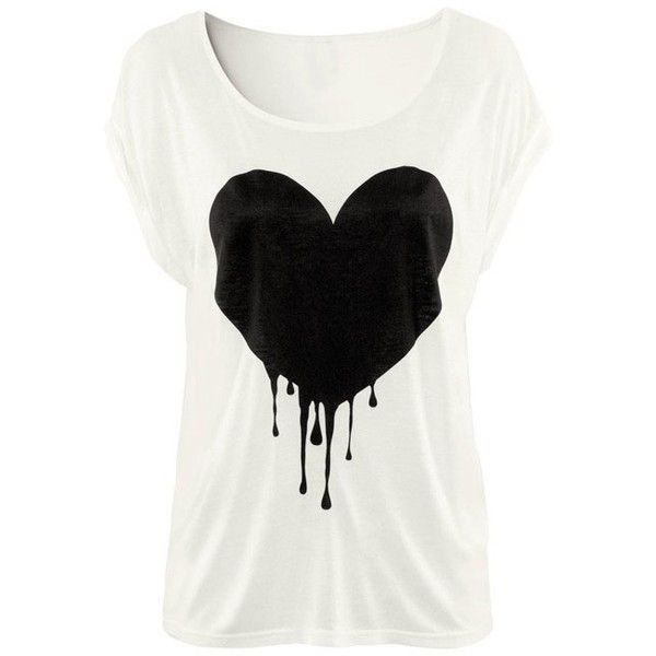 White Short Sleeve Drop Heart Print T-Shirt ❤ liked on Polyvore
