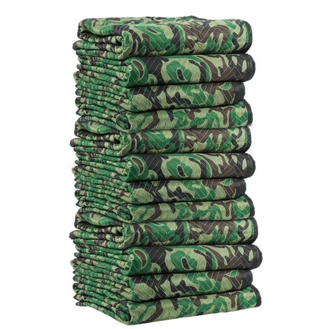 Camoflauge moving blankets @ ecosmartboxes.com  Large selection of furniture pads at quantities you want to buy.  From small to bulk purchases for moving blankets accommodates both residential DIY Movers and Professional Moving Supplies.