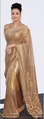 Ved Deal's Bollywood Replica Aishwarya Rai Heavy Golden Designer Saree Bollywood Sarees Online on Shimply.com
