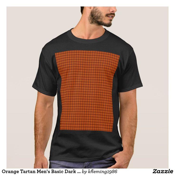 Orange Tartan Men's Basic Dark T-Shirt