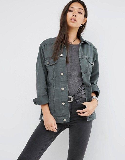 ASOS | ASOS Denim Girlfriend Jacket in Washed Khaki