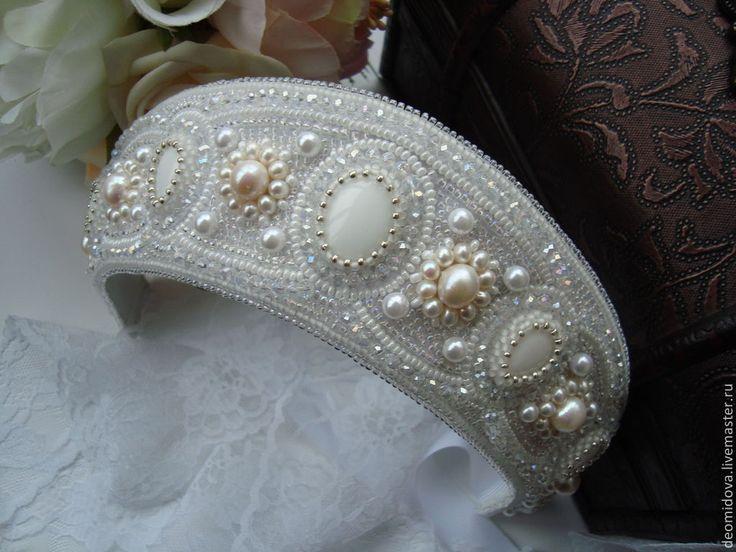 Купить Кокошник / диадема в русском стиле - белый, свадебное украшение, кокошник, корона