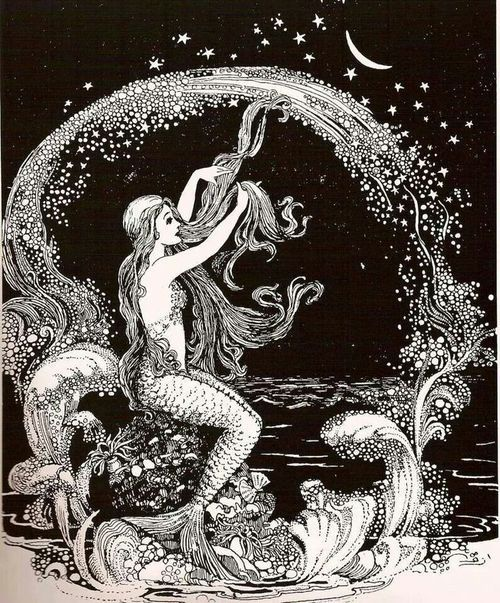 Black and white sketch of mermaid with long hair, looking at the moon
