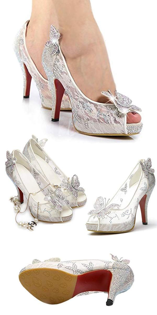 98b6a4fd0fa3 Sparkly high heel pumps with butterflies and crystal rhinestones. Wear them  as wedding shoes or to a holiday party.  PartyShoes  HolidayShoes   WeddingShoes ...