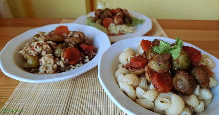 Kelbimbó olaszos paradicsommártásban 3 féle körettel (gluténmentes, laktózmentes, tojásmentes, vegán) / Recept / kelbimbó, paradicsompüré, vöröshagyma, oregánó, fokhagyma, sárgarépa, balzsamecet, barnarizs / tészta / salátaágy