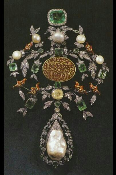 Antique. Ottoman. Used by Sultan Suleyman. Diamond, emerald, ruby & pearl.