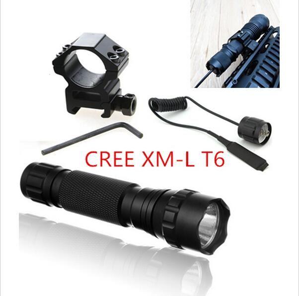 Тактический фонарь 501B, 2000 люмен, T6 + крепление + дистанционный переключатель, на винтовку, дробовик.